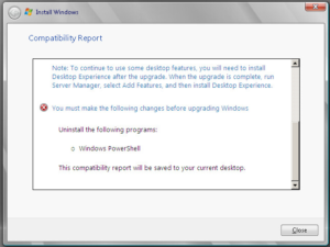 Compatibility Report while upgrading to Windows Server 2008