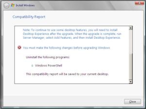 Windows Server 2008 へアップグレード時、互換性チェックで弾かれる