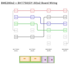 図2.BME280x2_BH1750(GY-30)x2 配線図