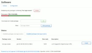 図1.luci-app-ocservパッケージの検索