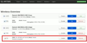 図5.Wireless Overview Guest SSID削除