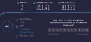 図12.HKT家庭用1000M回線Fiberモデム-PC直結速度