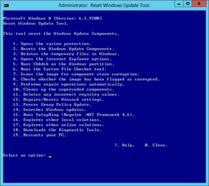 図05.Reset Windows Update Tool メニュー画面