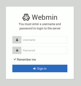 図1.Webmin Sign In