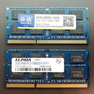 図03.交換RAM4GBと純正RAM2GB
