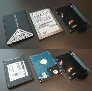 図1.中華SSDと純正HDDとブラケット
