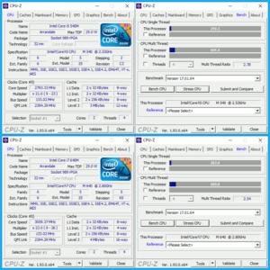 図22.CPU交換前後のCPU-Z比較