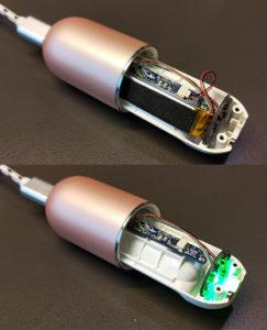 図7.バッテリを外し通電するとLED点灯
