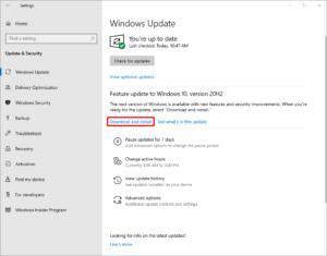 図6.Windows Updateに表示されるバージョン20H2