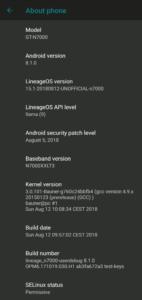 図04.LineageOS15.1 システム情報