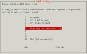 図8.DietPi-Config HDMI boost level