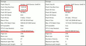 図2.ESP-01S 純正1MB vs 改造4MB ストレージ比較