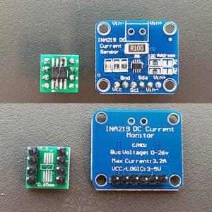 図04.INA219AIDR自作基板と市販モジュール