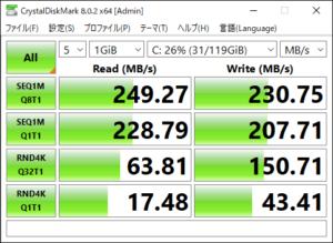 図06.VPCF135FG Windows10 CrystalDiskMark