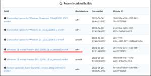 図2.UUP dump Recenly Added Builds