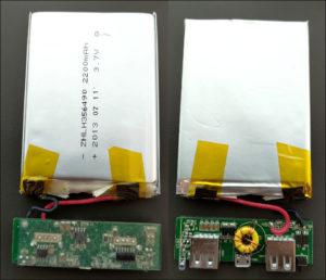 図3.取り出した基板とバッテリ